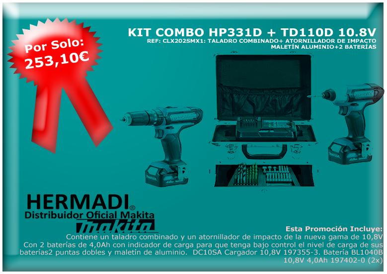 CLX202SMX1 KIT COMBO MAKITA TALADRO COMBNADO MÁS ATORNILLADOR DE IMPACTO